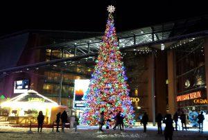 Marlene-Dietrich Platz in Berlin zur Weihnachtszeit