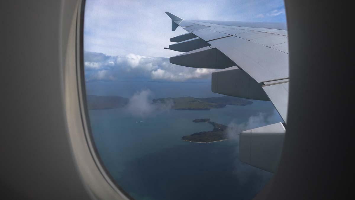 Blick aus dem Flieger über Neuseeland