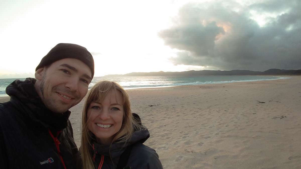 Selfie am Spirtis Bay Strand