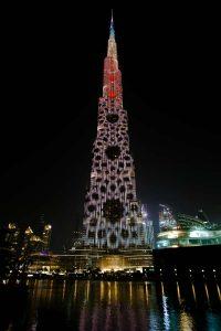 Burj Khalifa mit LED Show in Dubai