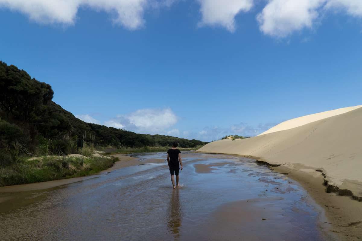 Te Paki Stream in Neuseeland