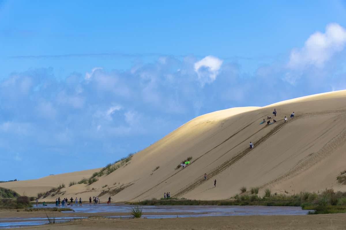 Sandboarden auf den Te Paki Great Sand Dunes in Neuseeland