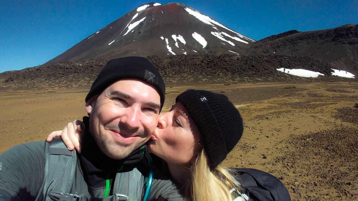 Selfie vor Mount Doom im Tongariro Nationalpark