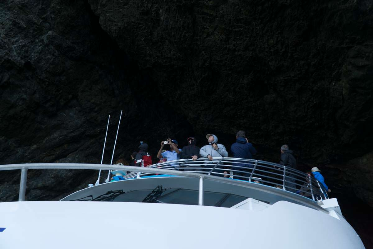 Fahrt durch das Hole in the Rock in der Bay of Islands mit Fullers GreatSights Dolphin Cruise