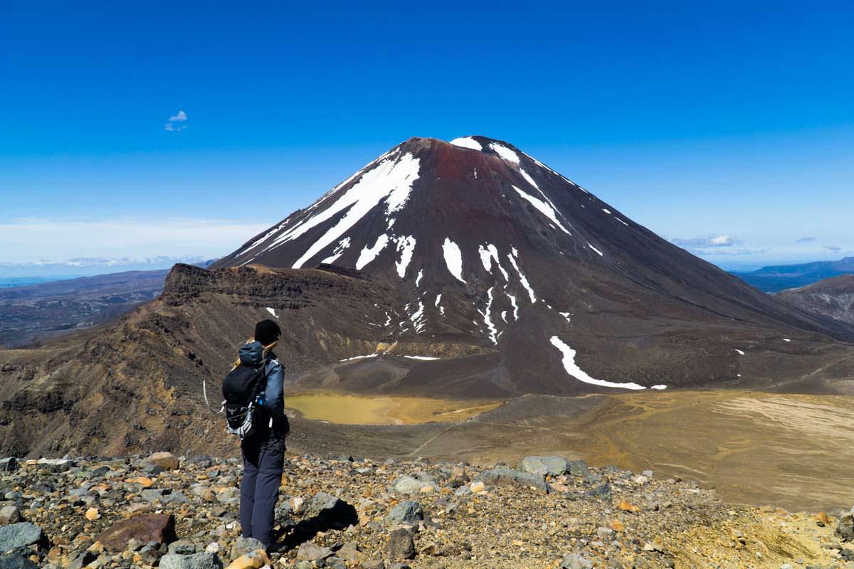 Blick auf den South Crater und den Mount Ngauruhoe im Tongariro Nationalpark in Neuseeland