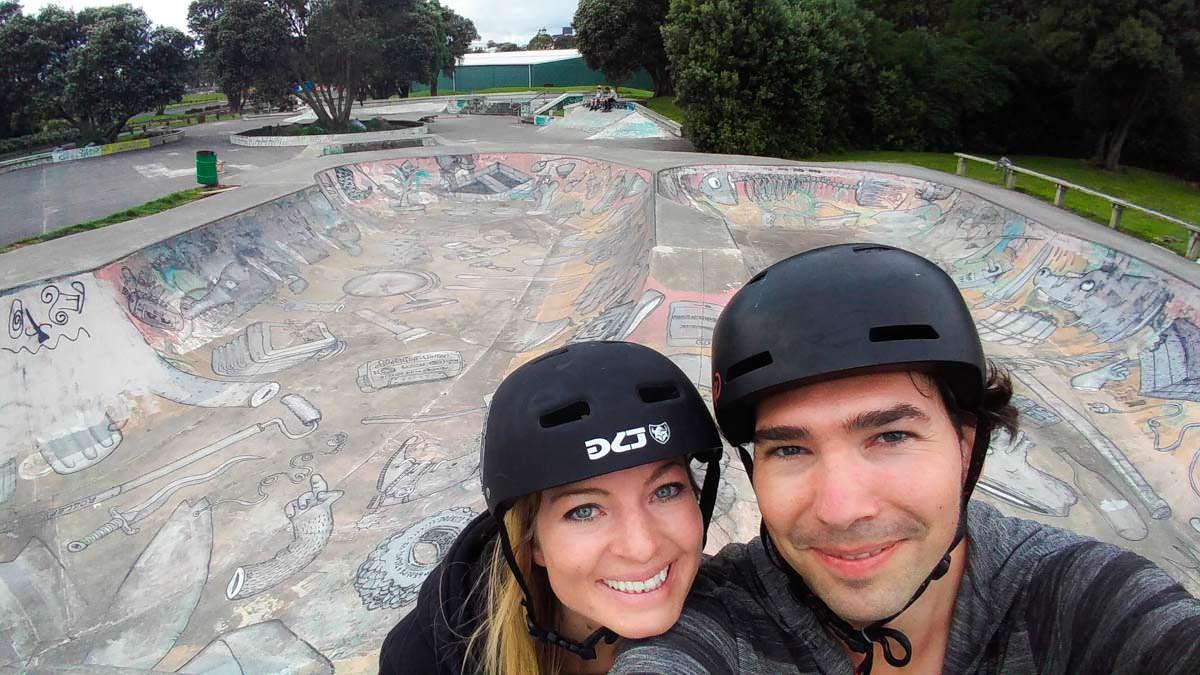 Selfie im Skatepark von New Plymouth in Neuseeland