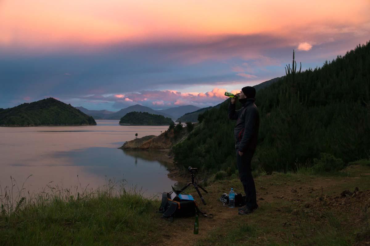 Sonnenuntergang am Archer Track in Neuseeland