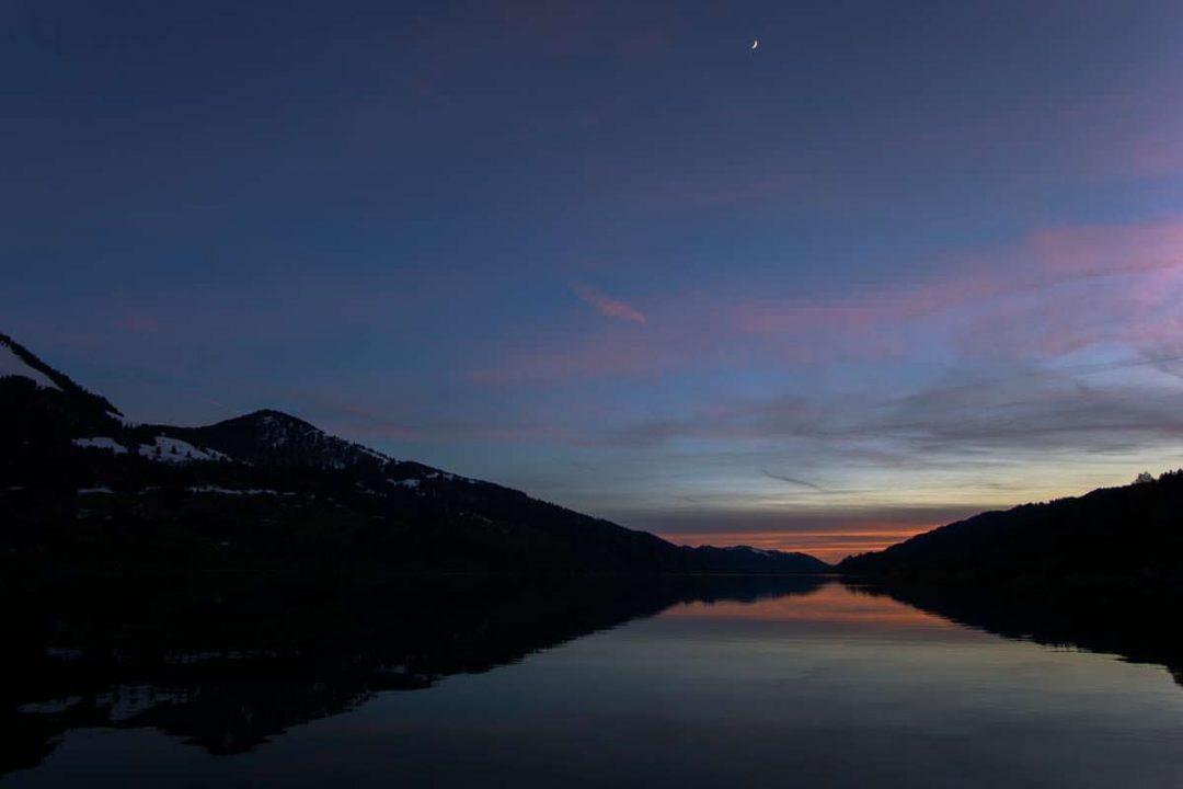 Sonnenuntergang über dem Alpsee in Immenstadt