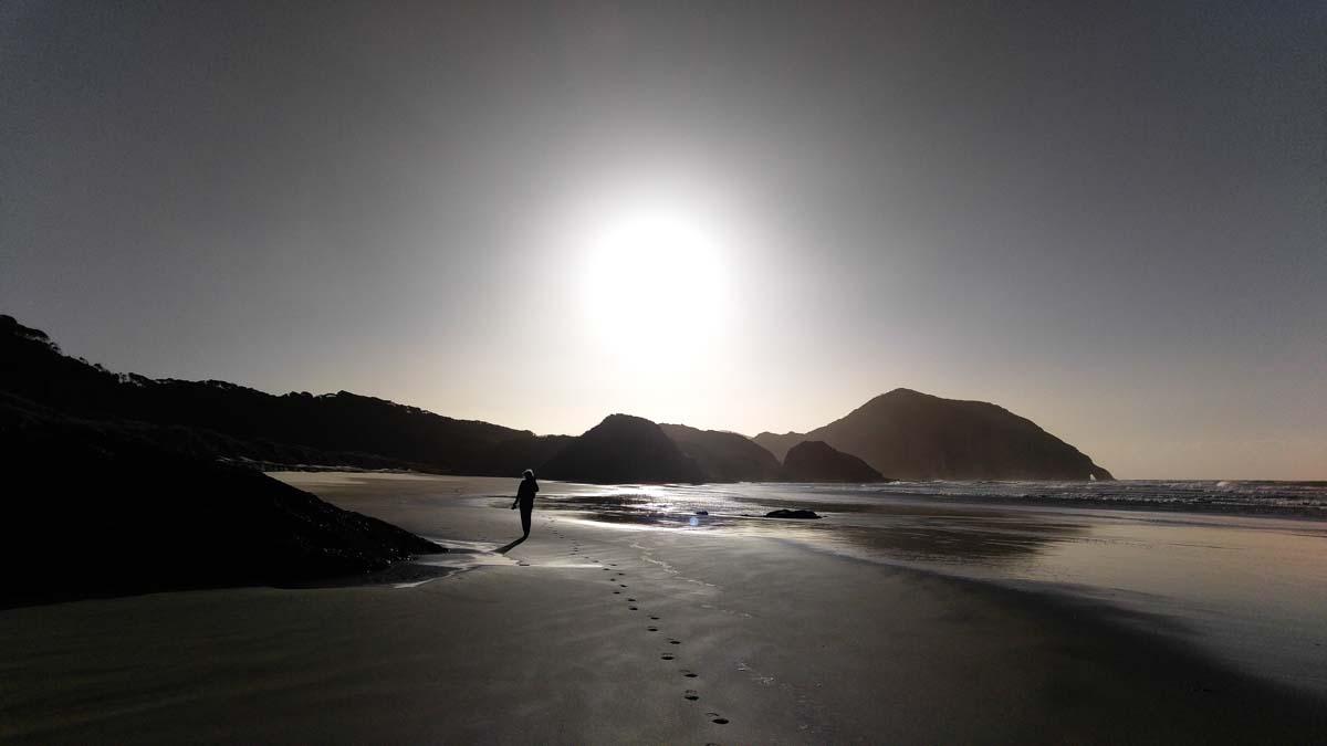 Sonnenuntergang am Wharariki Beach