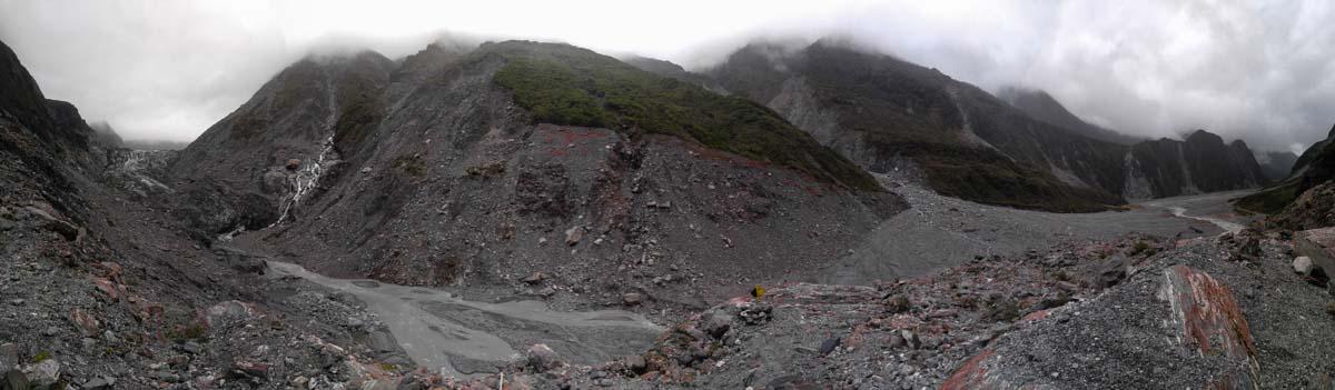 Panorama vom Fox Gletscher in Neuseeland