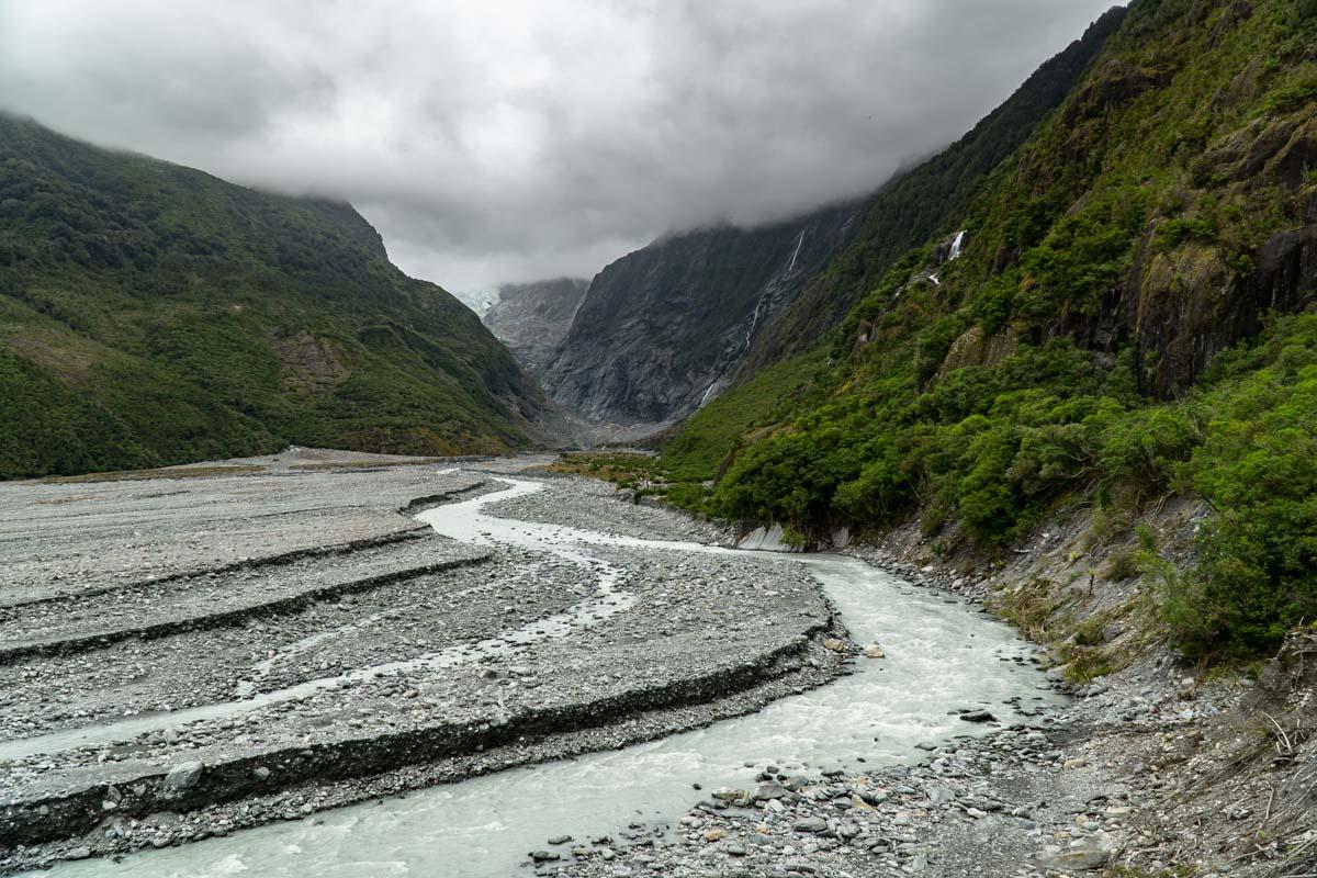 Das Tal vom Franz-Josef-Gletscher in Neuseeland