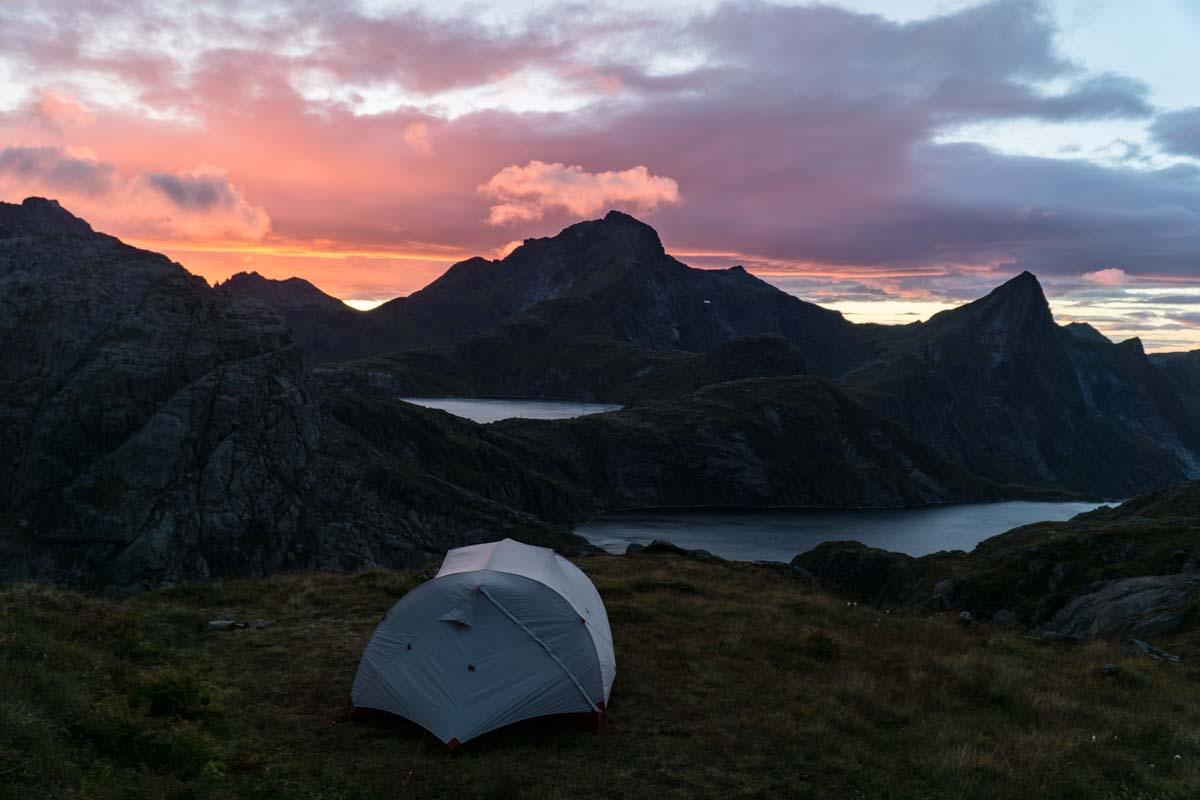 Unser Zeltplatz mit Aussicht über die Seen am Munken, Norwegen