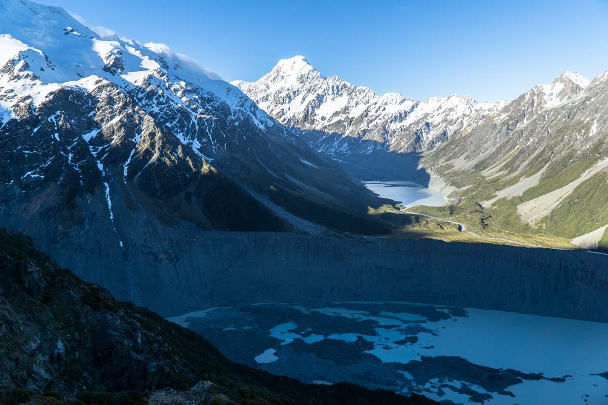 Ausblick vom Mount Sealy auf den Aoraki, Neuseeland