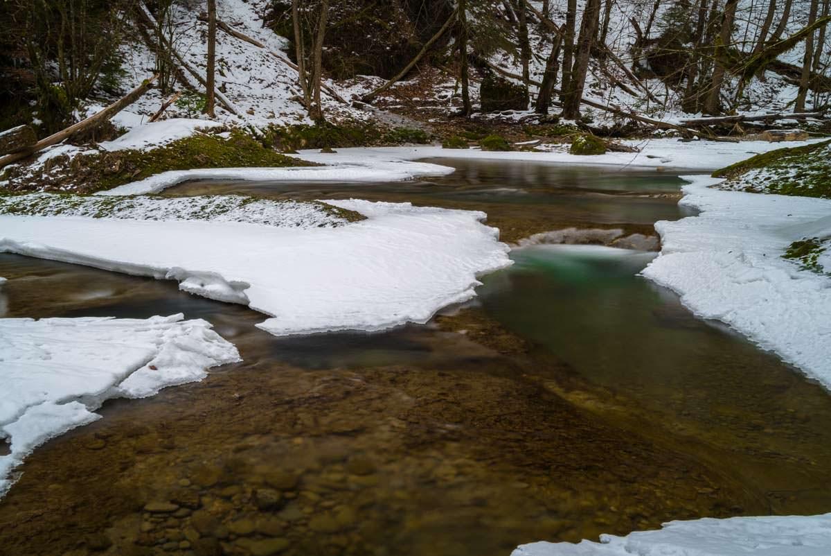 Bunte Strudelbecken (Eistobel im Winter)