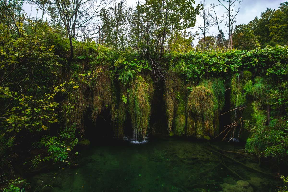 Moosbewachsene Wasserfälle bei den Oberen Seen (Nationalpark Plitvicer Seen)