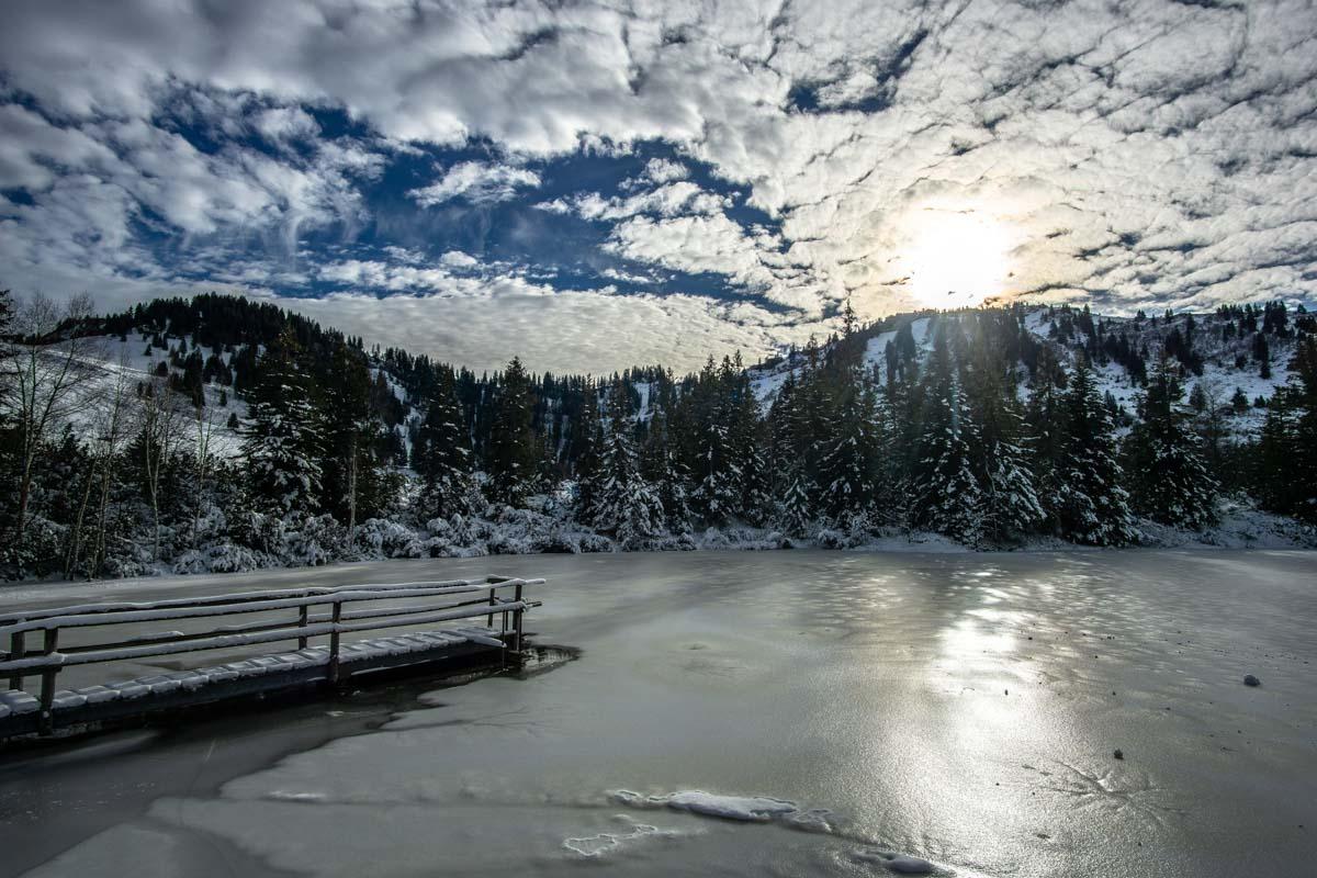 Winterlandschaft am Hörmoos See (Steibis, Deutschland)
