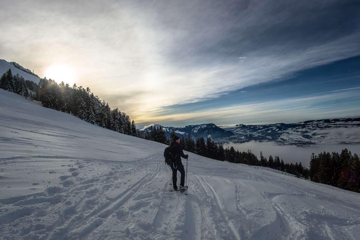 Schneeschuhwandern am Grünten im Allgäu