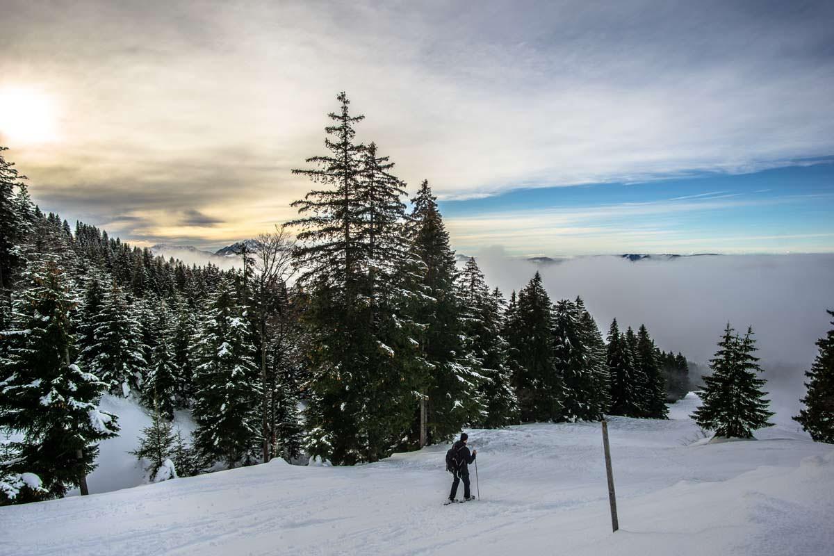Schöne und einfache Schneeschuhwanderung im Allgäu