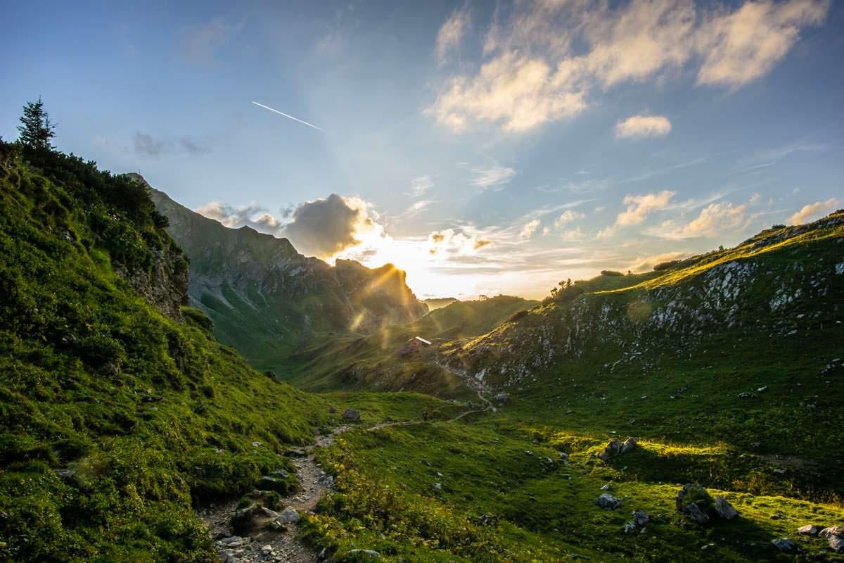 Abends wird es ruhig auf der Wanderung vom Schrecksee nach Hinterstein
