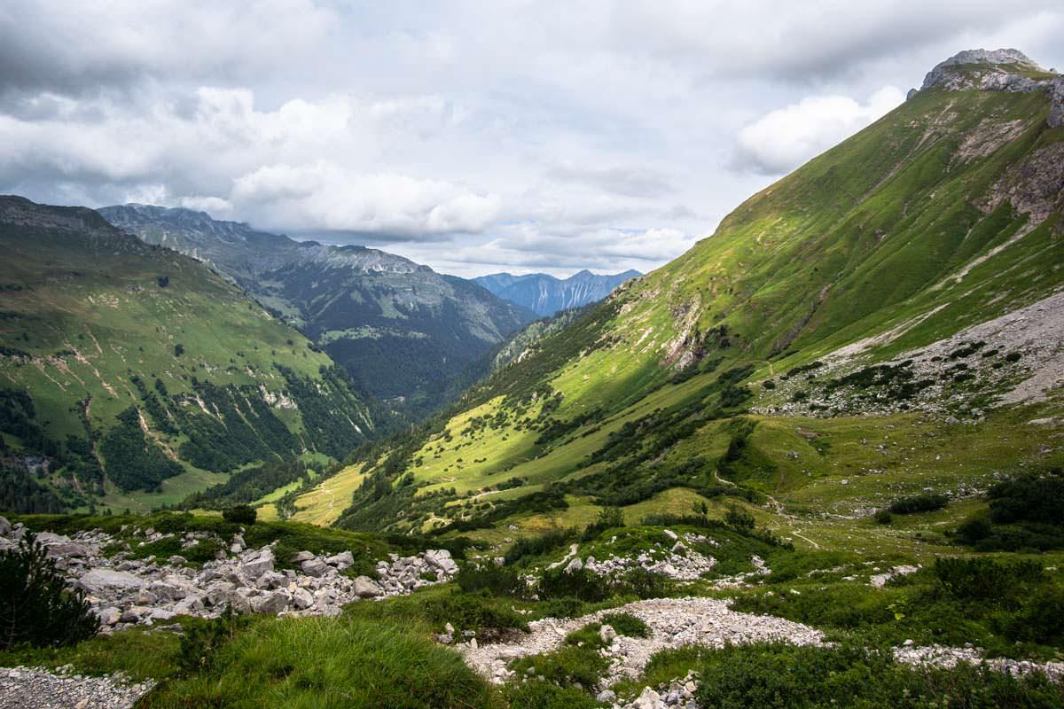 Vom Prinz-Luitpold-Haus blicken wir zurück auf das Hintersteiner Tal
