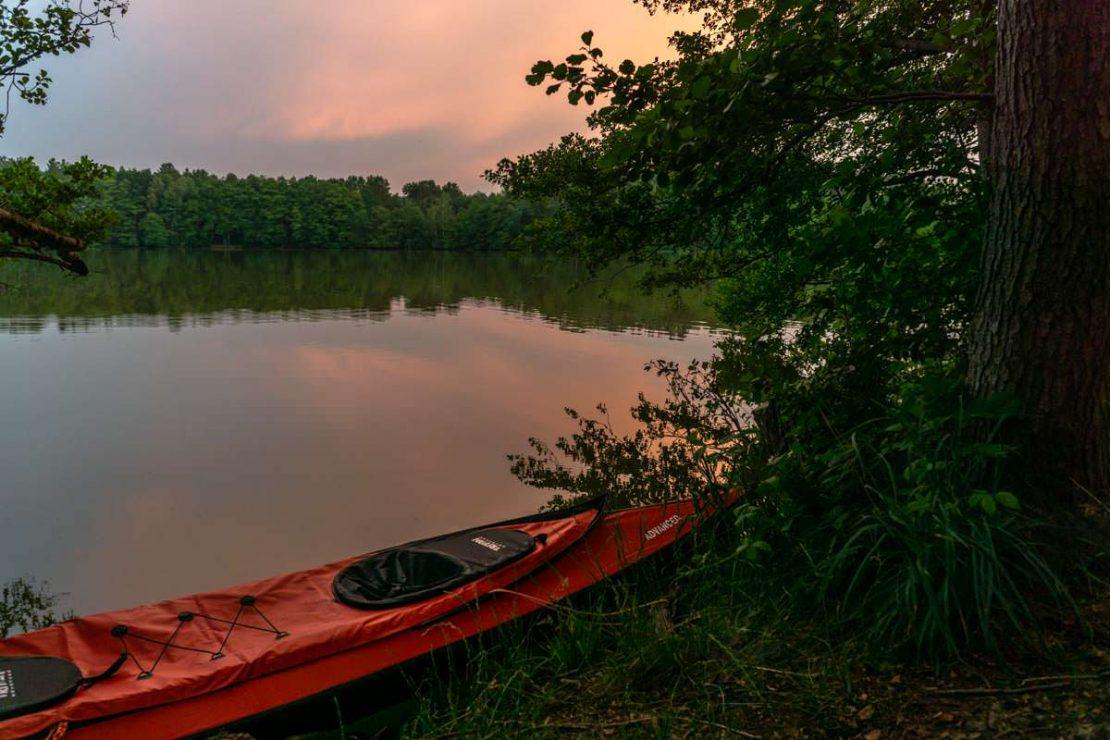 Sonnenuntergang am Jamelsee am Camping Hexenwäldchen