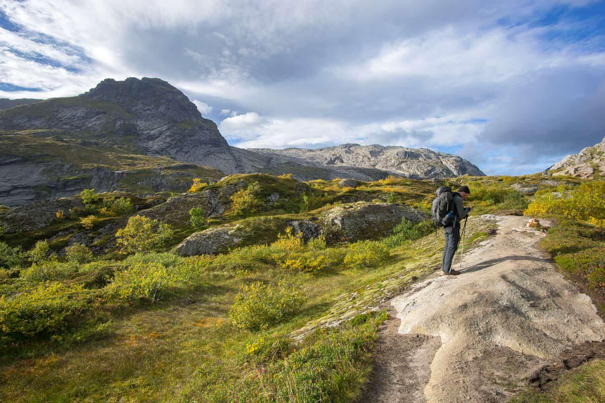 Wanderung zur Munkebu Hut auf den Lofoten
