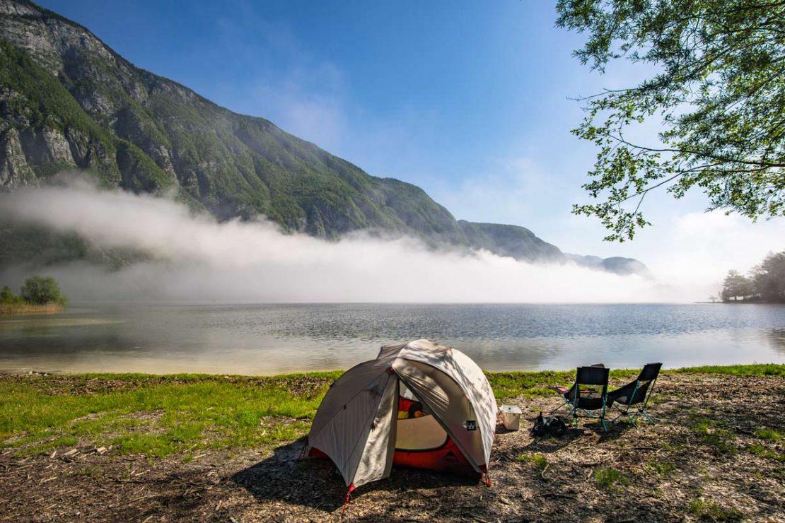 Camping am Camp Zlatorog Bohinj mt Blick auf den Bohinjsko jezero