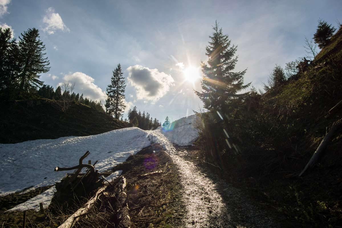 Auf der Wanderung von der Kappeler Alp zum Alpspitz sehen wir Altschneereste