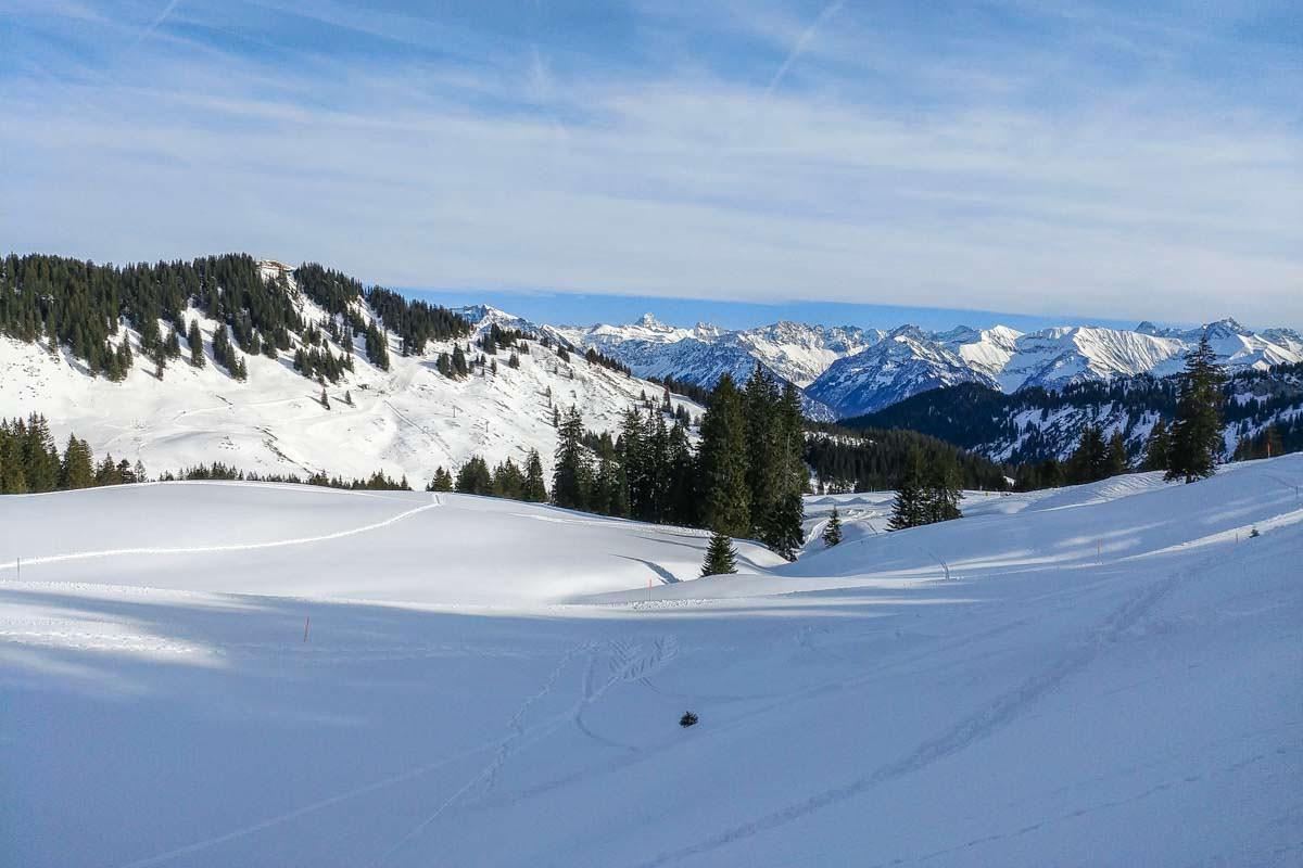 Schneeschuhwanderung mit Snowboard auf das Riedberger Horn