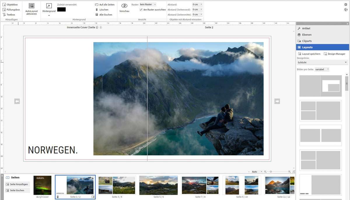 Saal Design Software zum gestalten des Fotobuchs
