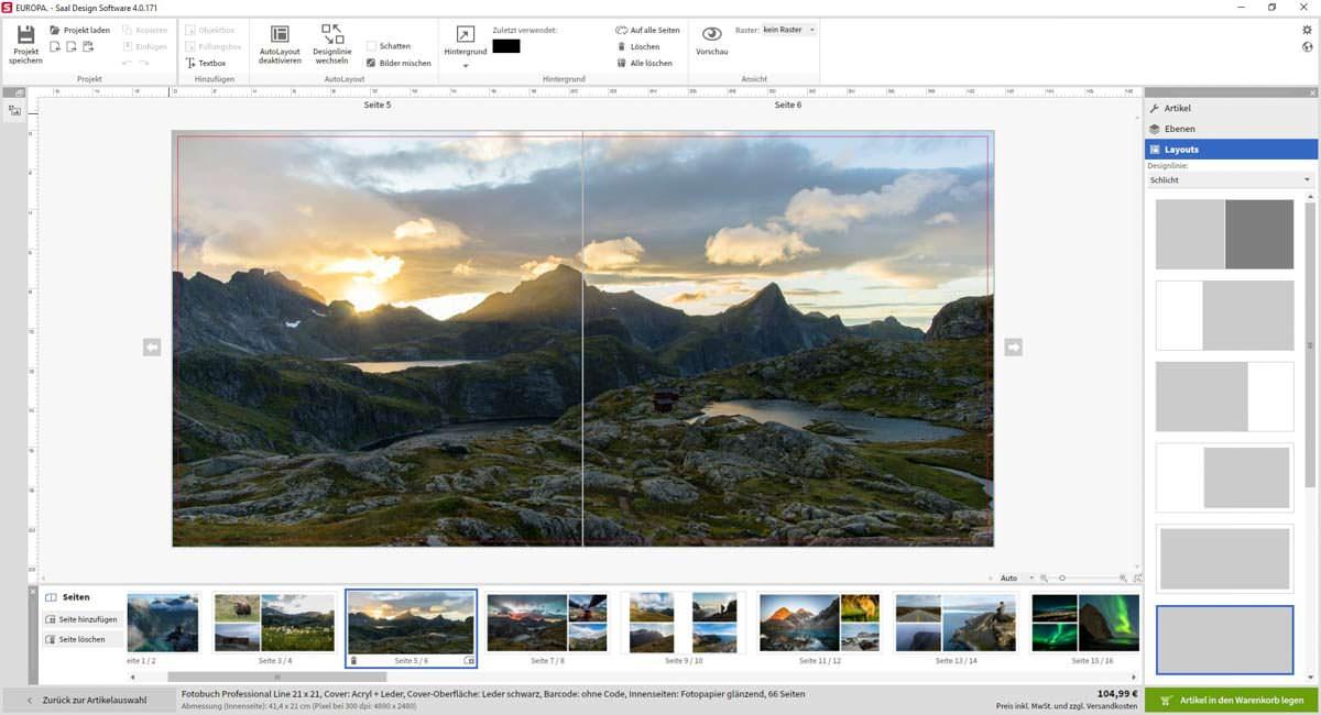 Screenshot der Saal Design Software